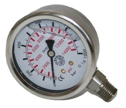 Manometri di pressione analogici a bagno di glicerina per oli idraulici e fluidi
